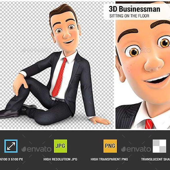 3D Businessman Sitting on the Floor