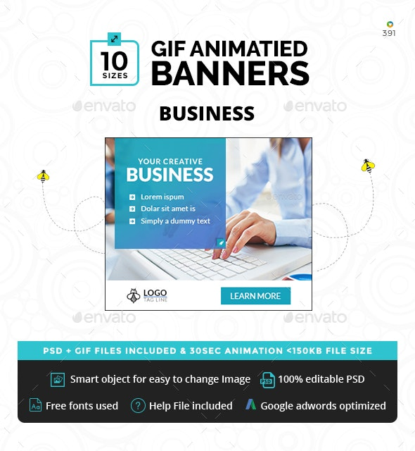Business Animated GIF Banners - Banners & Ads Web Elements