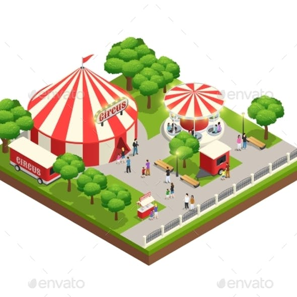 Circus Tent In Park Isometric Composition