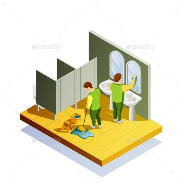 Closet Cleaning Isometric Composition