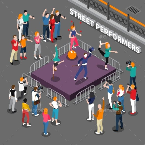 Street Performers Isometric Composition