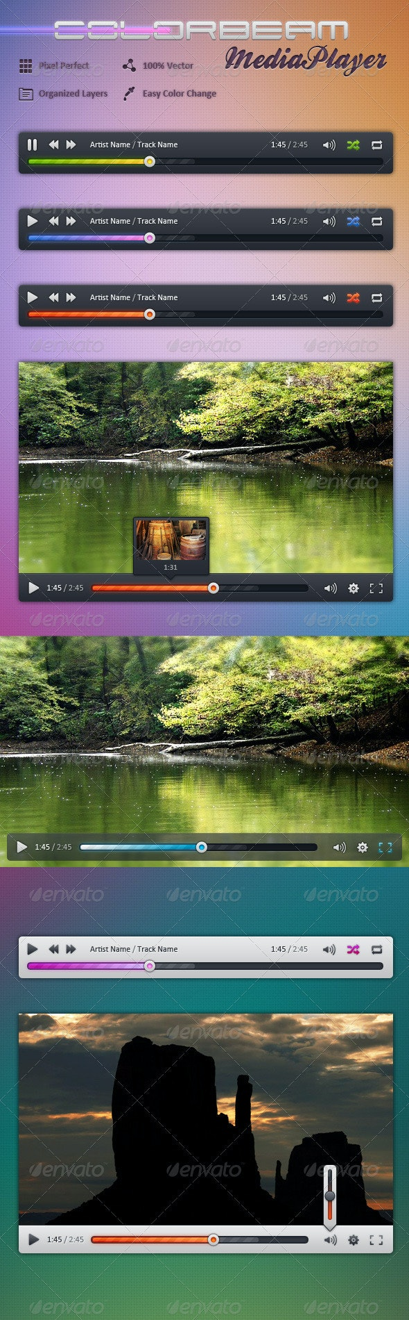 Colorbeam MediaPlayer - User Interfaces Web Elements