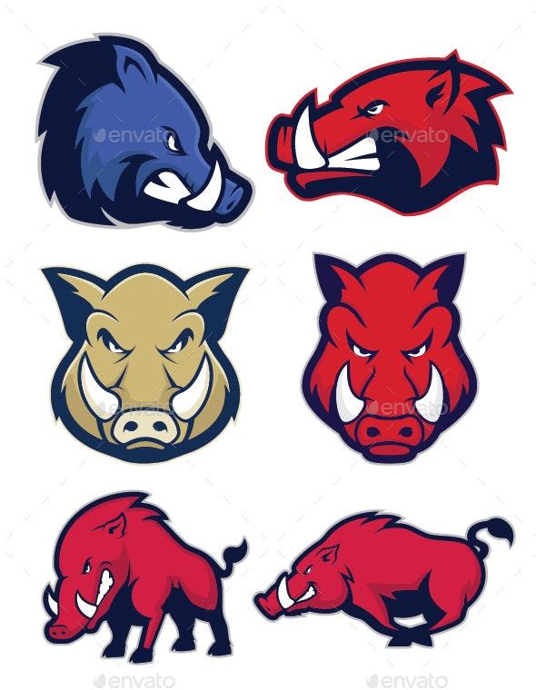 Wild Hog or Boar Mascot - Animals Characters