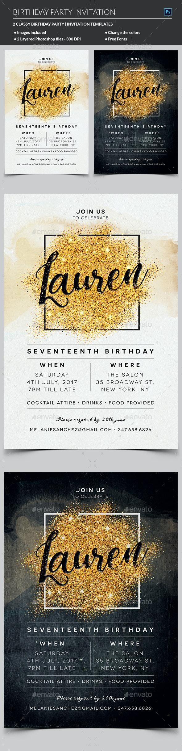 Elegant Birthday Invitation - Invitations Cards & Invites