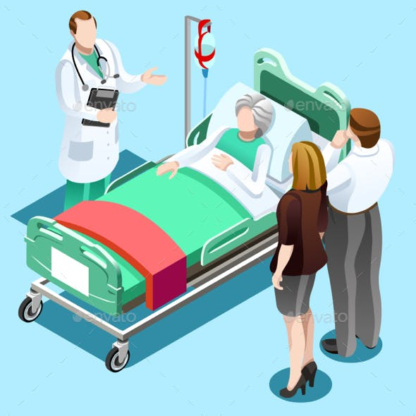 Doctor Talking with Old Patient Family Vector Isometric People