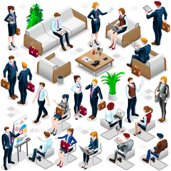 Isometric People Lots Business Icon 3D Set Vector Illustration