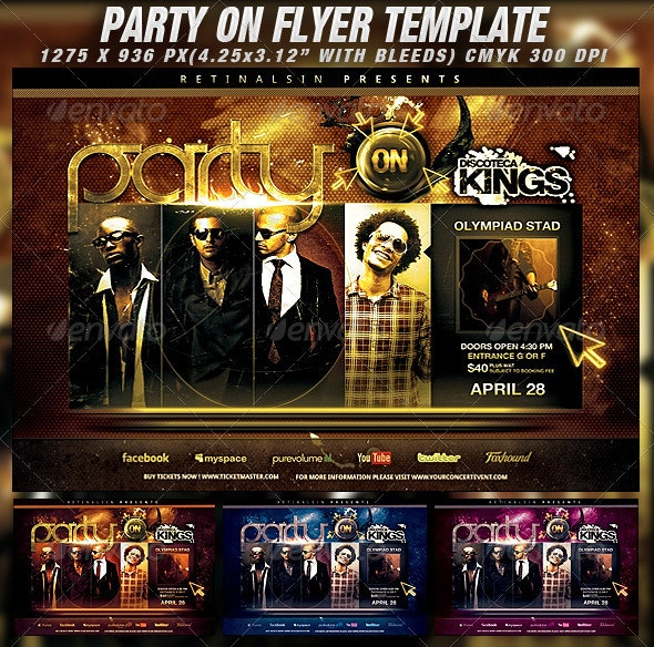 Party On Flyer Template - Clubs & Parties Events