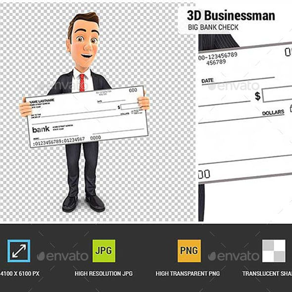 3D Businessman Holding Big Bank Check