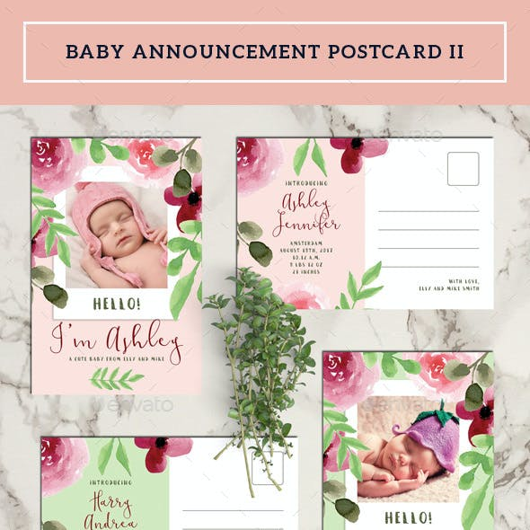 Baby Announcement Postcard II