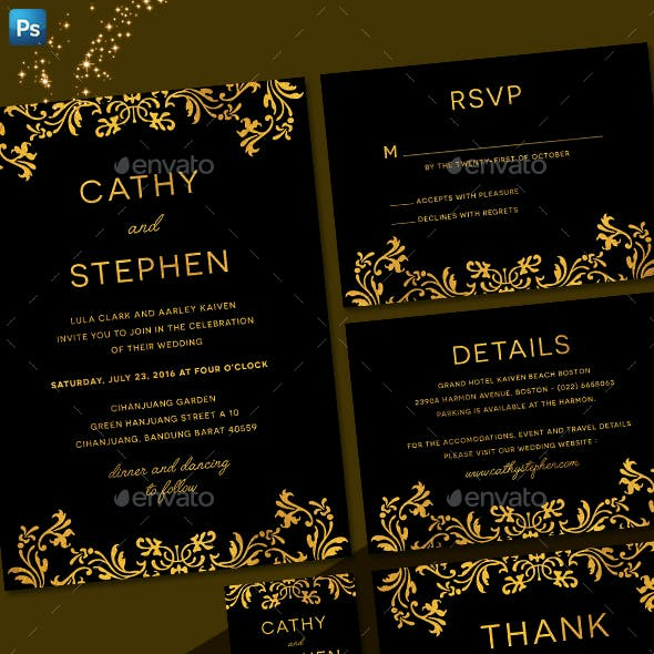 Elegant Gold Wedding Invitation