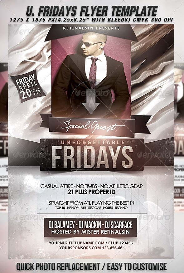 Unforgettable Fridays Flyer Template - Clubs & Parties Events