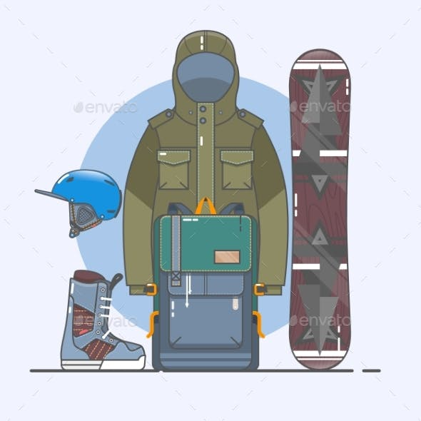 Snowboard accessories.Winter Sports Icon Set. Line