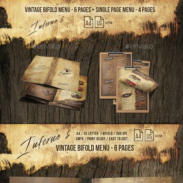 Infernos Vintage Menu - A4 and US Letter - 2 Designs - 10 Pages