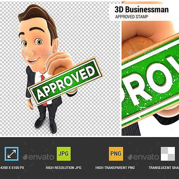 3D Businessman Approved Stamp