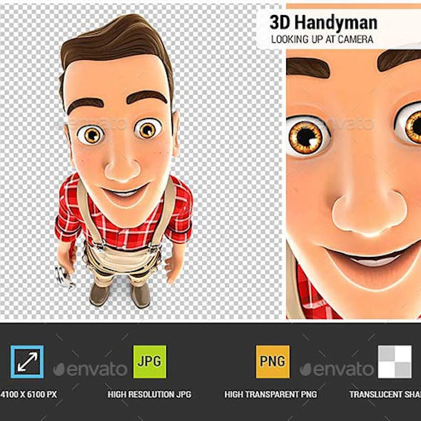 3D Handyman Standing and Looking Up at Camera