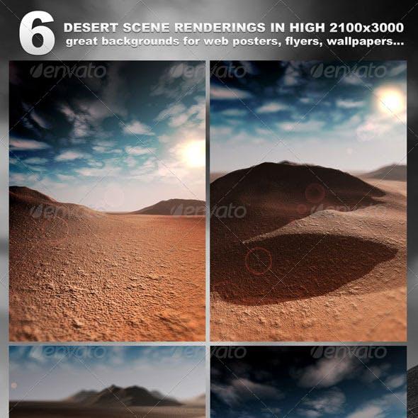 6 Desert Scenes in 2100x3000 - rendered
