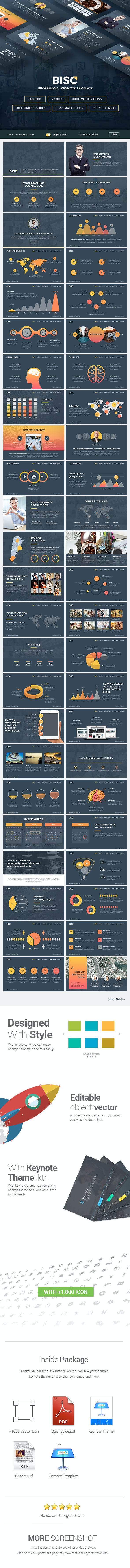 Bisc - Professional Pitch Deck Keynote Template - Business Keynote Templates