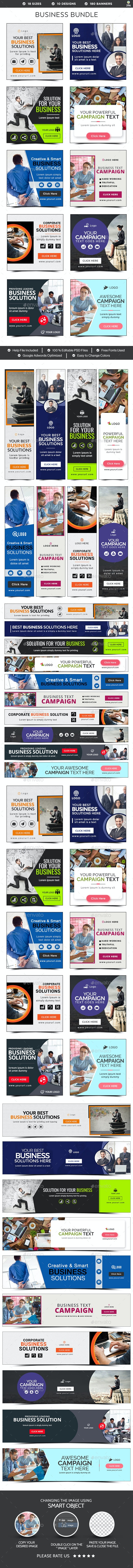 Business Banners Bundle - 10 Sets - 180 Banners - Banners & Ads Web Elements