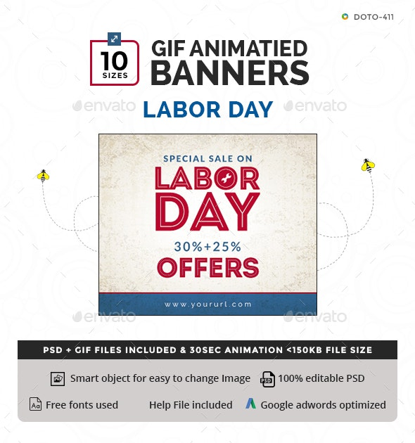 Labour Day Animated GIF Banners - Banners & Ads Web Elements