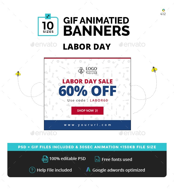 Labor Day Animated GIF Banners - Banners & Ads Web Elements