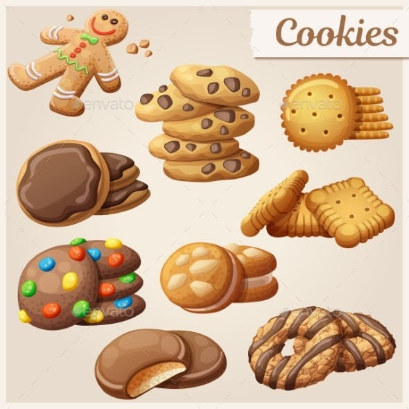 Set of Delicious Cookies. Vector Illustration
