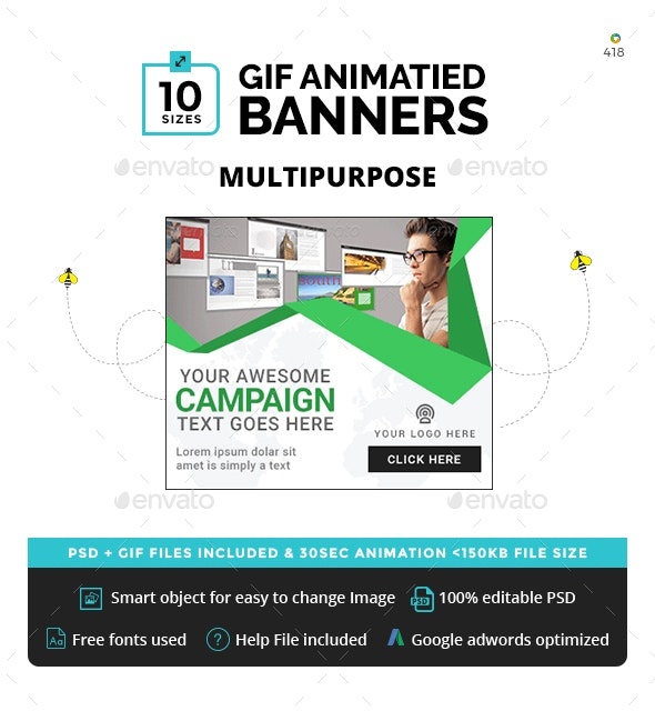 Multipurpose Animated GIF Banners - Banners & Ads Web Elements
