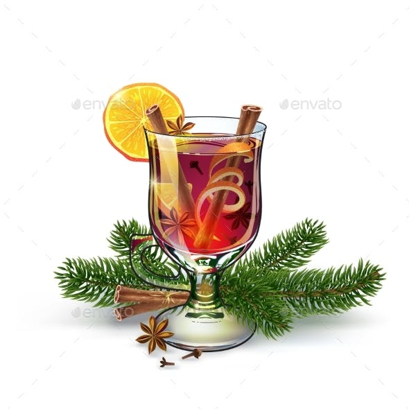 Mulled Wine Illustration Postcard Xmas Drink