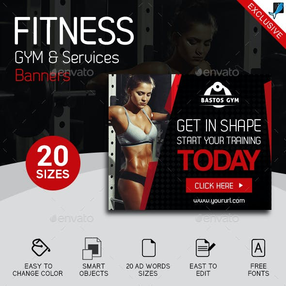 Fitness Gym and Services Ad Banners Set 2