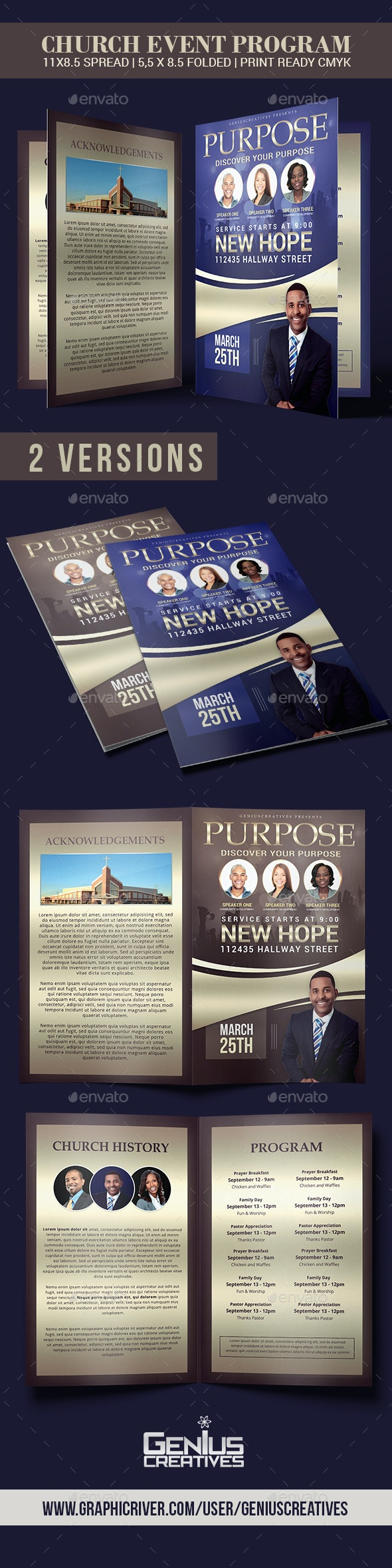 Purpose Church Program Template - Informational Brochures