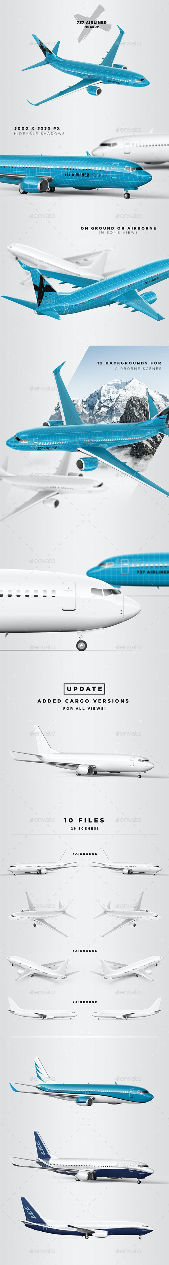 737 Jet Airliner Mockup - Passenger & Cargo - Vehicle Wraps Print