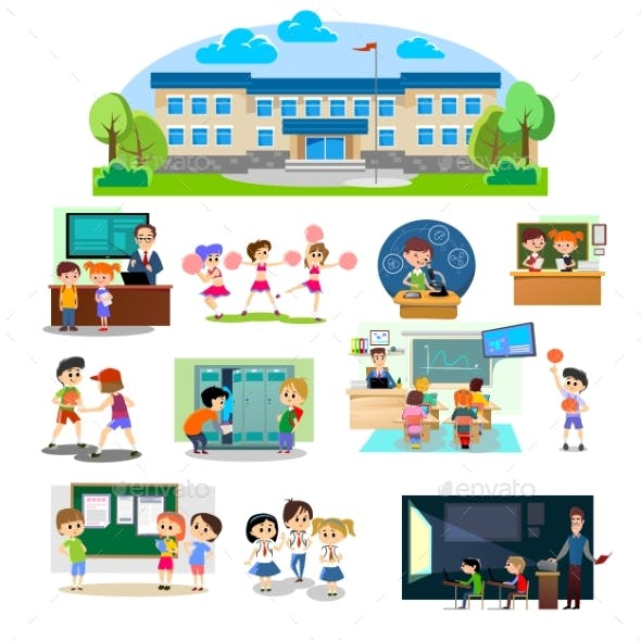 Back To School Set of Pictographs, Childrens Life