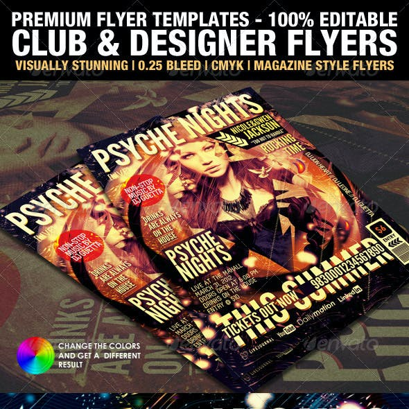 Club & Design Magazine Style Flyer Templates Vol.4