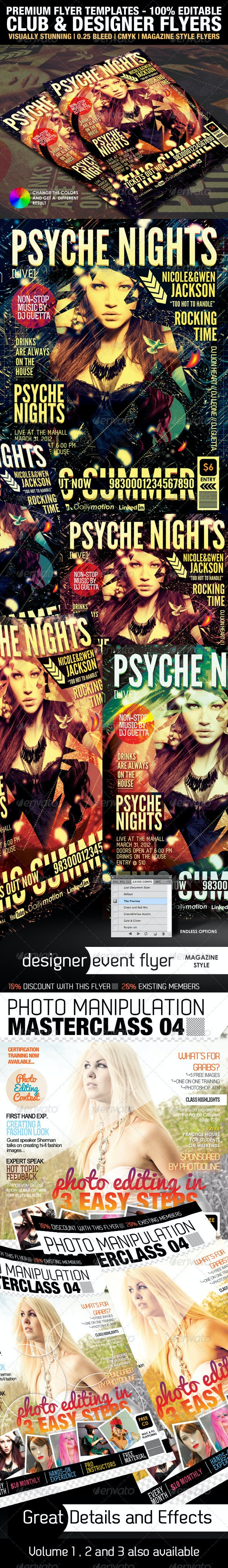 Club & Design Magazine Style Flyer Templates Vol.4 - Clubs & Parties Events