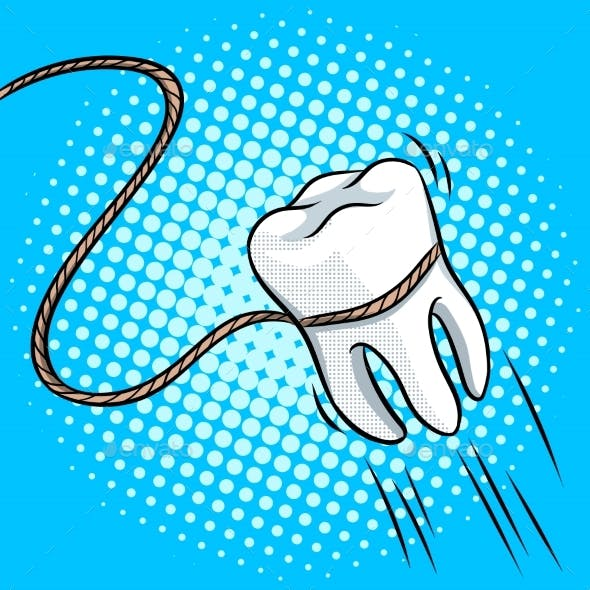 Tooth Pulled with Rope Pop Art Vector Illustration