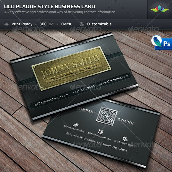 Old Style Plaque Business Card Template