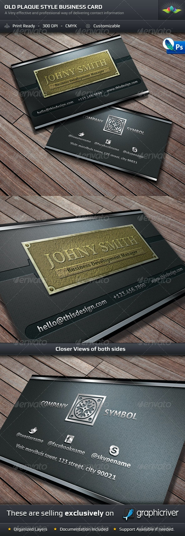 Old Style Plaque Business Card Template - Real Objects Business Cards