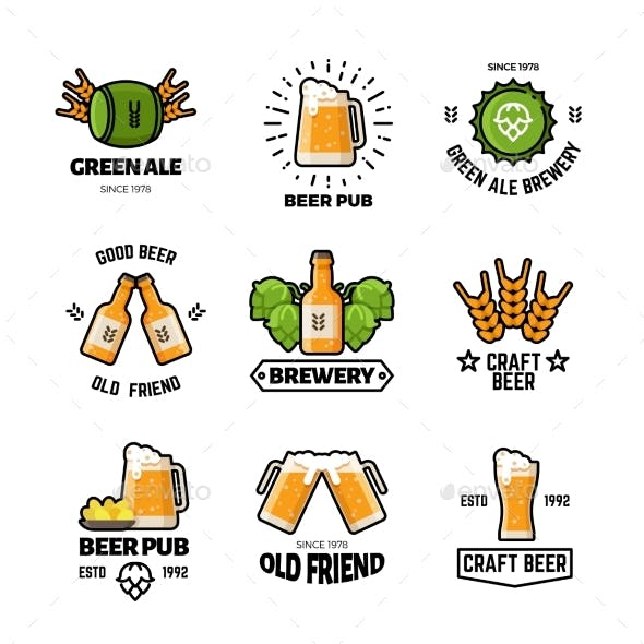 Beer Pub Vector Logos and Emblems. Brewery and