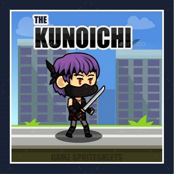The Kunoichi Ninja Girl 2D Game Character Sprite