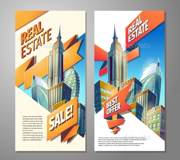 Set of Advertising Posters for Sale of Real Estate - Concepts Business