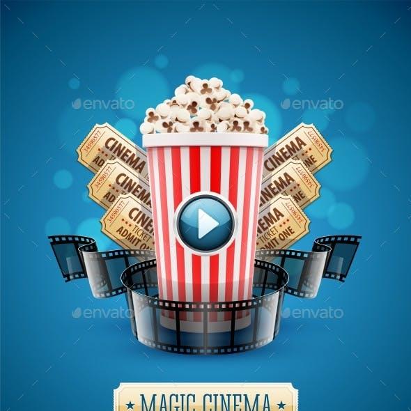 Online Cinema Art Movie Watching with Popcorn