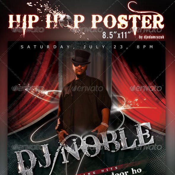 "8.5""x11"" HipHop Poster Template"