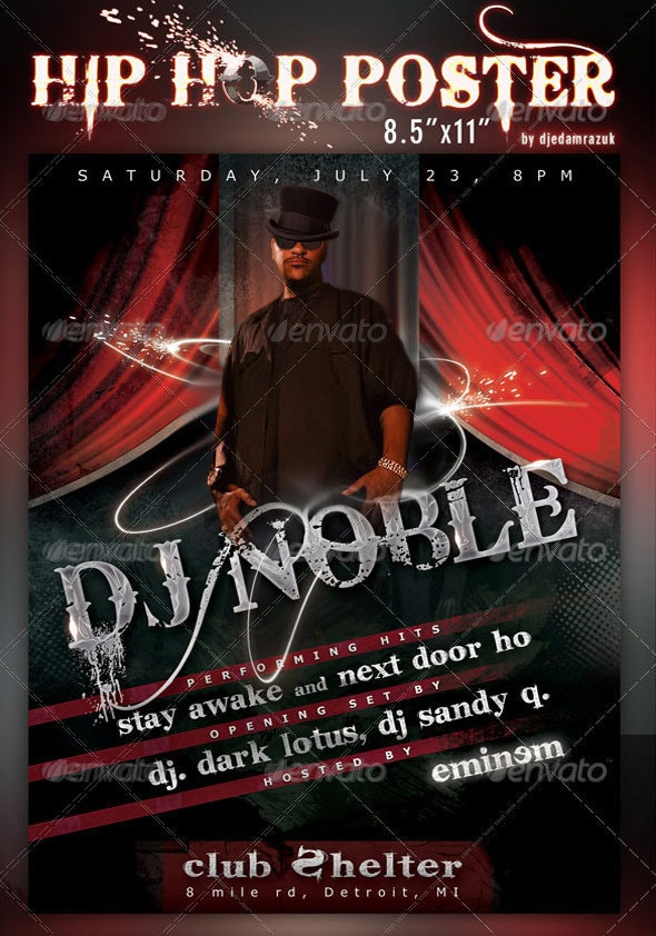"""8.5""""x11"""" HipHop Poster Template  - Clubs & Parties Events"""