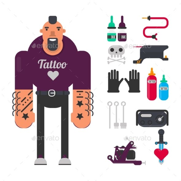 Tattoo Master with Special Work Equipment Isolated