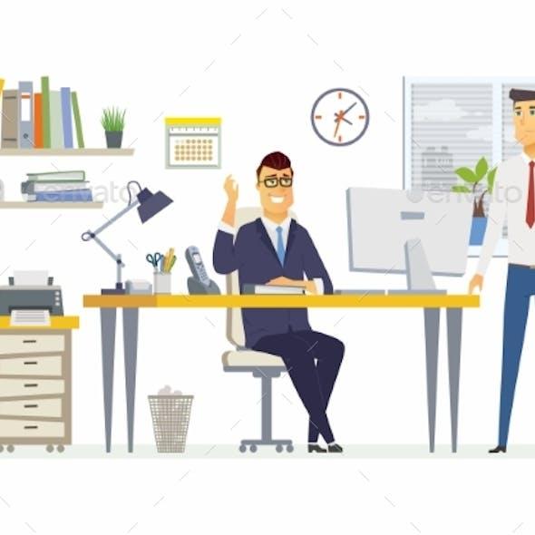 Office Scene - Modern Vector Cartoon Business