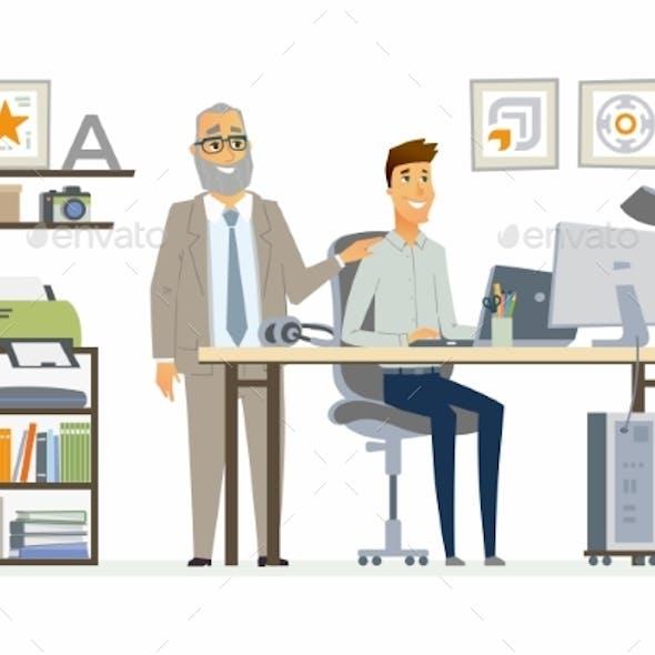 Supervising Staff - Modern Vector Cartoon Business