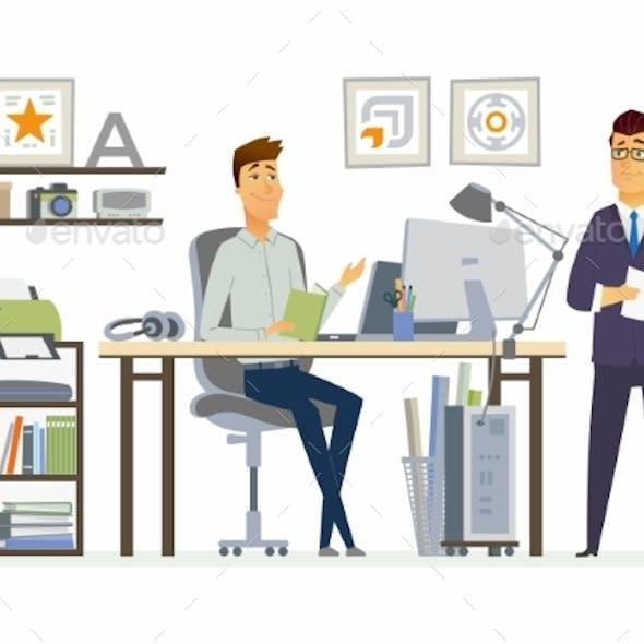 Partner Meeting - Modern Vector Cartoon Business