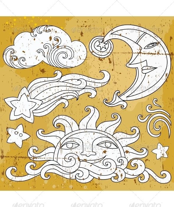Celestial Design Elements - Tattoos Vectors