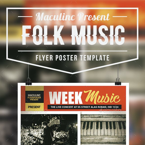 Folk Music Flyer/Poster Vol.2