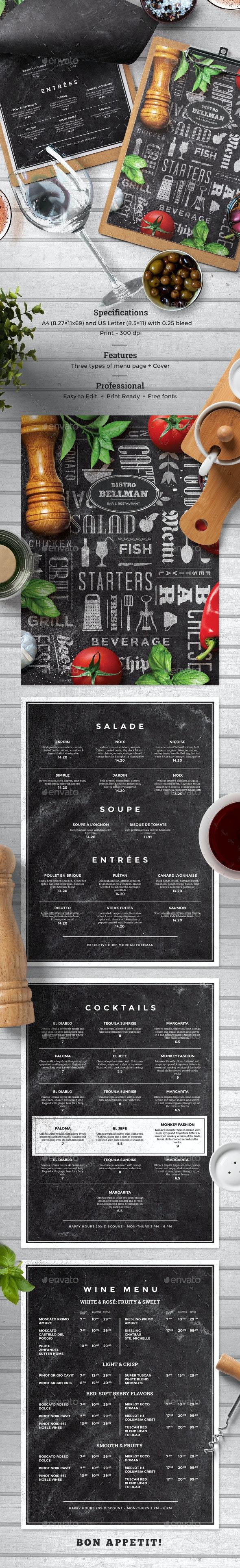 Chalkboard Food Menu - Food Menus Print Templates