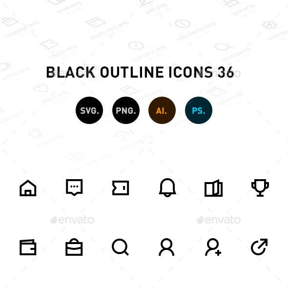 Black Outline Icons 36